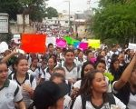 Thousands of students march in support of the CNTE union in Apatzingan, in the southern state of Michoacan, Mexico, June 14, 2016.