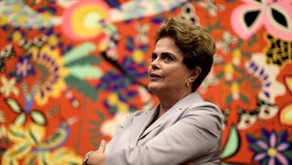 Suspended Brazilian President Dilma Rousseff attends a news conference in Brasilia