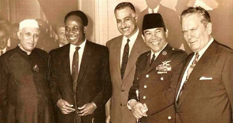 The founding members of the Non-Aligned Movement in 1960-61: (L-R) Nehru of India, Nkrumah of Ghana, Nassar of Egypt, Sukarno of Indonesia and Tito of Yugoslavia.