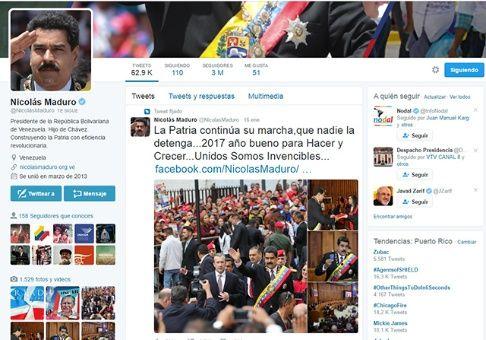 Captura de pantalla de la cuenta en Twitter del presidente venezolano Nicolás Maduro.