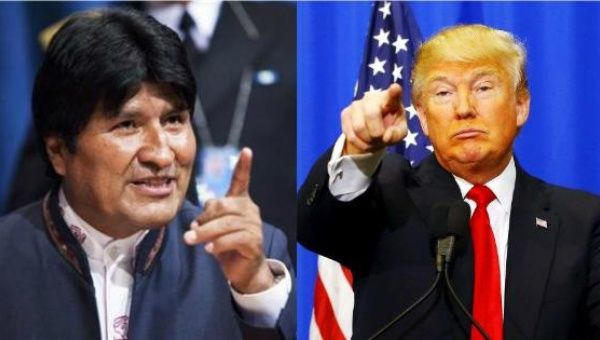 Bolivian President Evo Morales (L) and U.S. President Donald Trump (R).