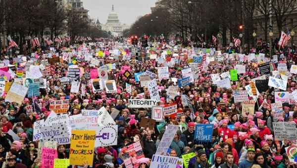 Hundreds of thousands march down Pennsylvania Avenue during the Women
