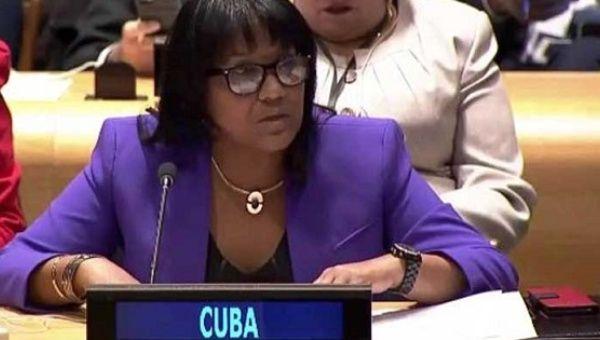 representante permanente de Cuba ante la ONU Anayansi Rodríguez.