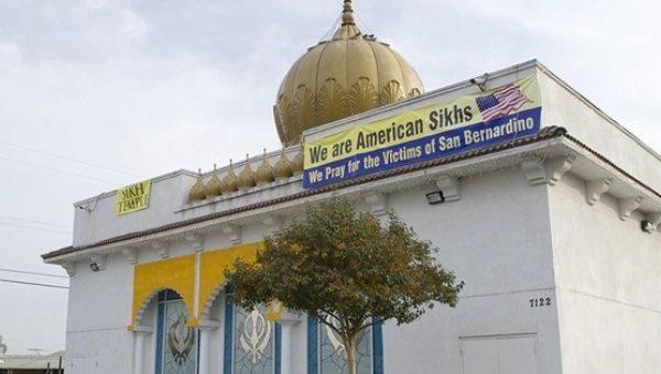 The Gurdwara Singh Sabha in Buena Park, Calif., shows banners clarifying that it is a Sikh temple following the terrorist attack in San Bernardino, Calif. Sikhs have often been confused for Muslims after Islam-linked terror events.