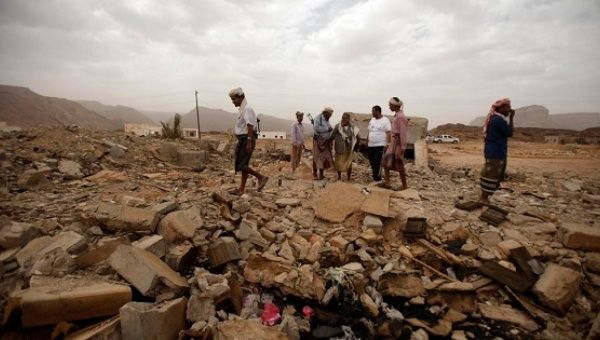 A building in the Yemeni province of Shabwah that was destroyed by a U.S. drone strike targeting al-Qaida forces.