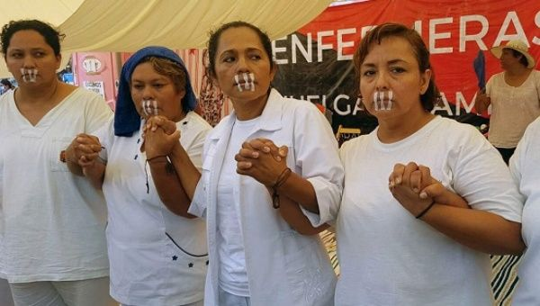 Four of the nine nurses on a hunger strike in Chiapas, Mexico. April, 2017