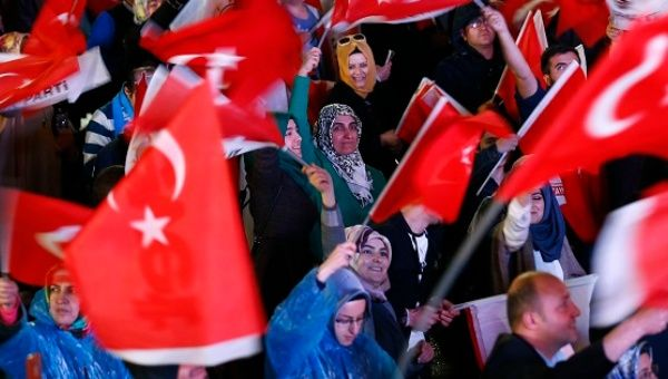 Supporters of President Tayyip Erdogan