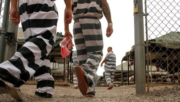 Inmates walk back to the yard in Phoenix, Arizona.