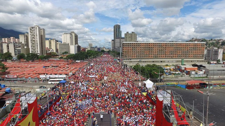 Venezuelans convene in Caracas for May Day on May 1, 2017.
