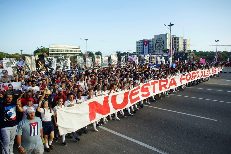 Cuban workers march in Havana
