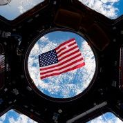 An American flag viewed in space.