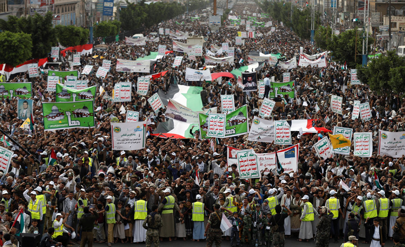 Followers of the Houthi movement rally to mark the annual al-Quds Day, or Jerusalem Day, during the holy month of Ramadan in Sanaa, Yemen June 23, 2017.