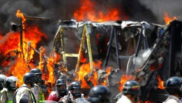 Opposition protesters have burned trucks as a means of blockading highways and other facilities.
