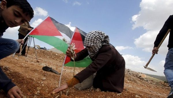 A Palestinian woman plants an olive tree during a demonstration marking Land Day and against Jewish settlements in Wadi Foukeen near the West Bank city of Bethlehem.