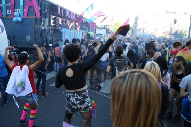 "Protesters shouted, ""Enough femicides against transvestites, transgenders and transsexuals."""