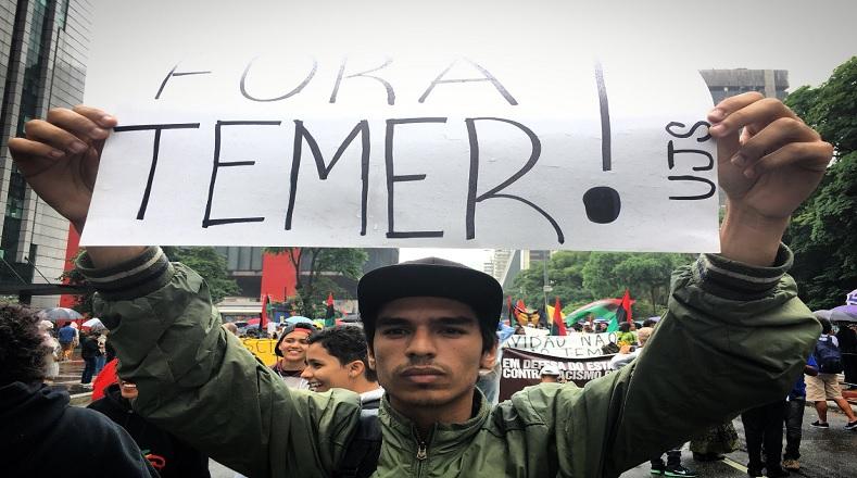 La movilización también sirvió para que la ciudadanía repitiera una vez más su exigencia de renuncia al presidente no electo de Brasil, Michel Temer.