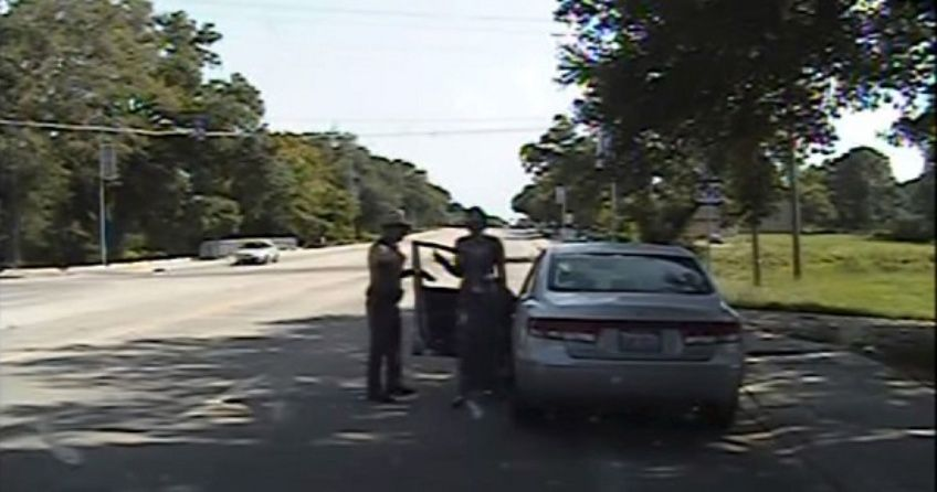 Texas state trooper Brian Encinia points a Taser as he orders Sandra Bland out of her vehicle, in this still image captured from the police dash camera video in Prairie View, Texas, July 10, 2015.