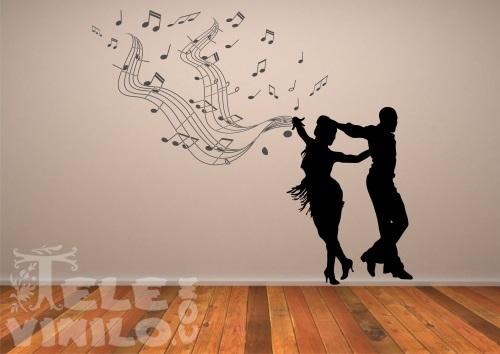 Vinilos Adhesivos Musicales Bailando Pentagrama  Comprar
