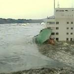Tsunami ravaging Kesennuma port