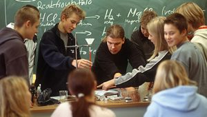 Experiment in a natural sciences class at Tammersoken Luko High School in Finland.