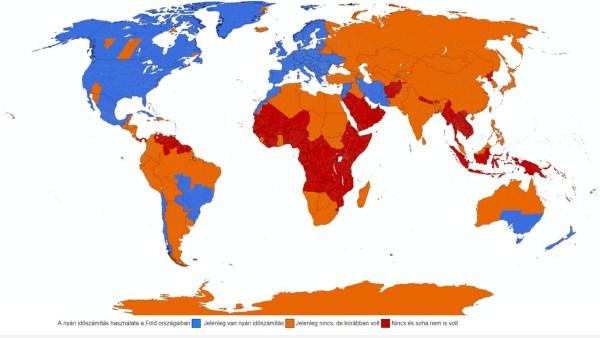 A nyári időszámítás használata a Föld országaiban