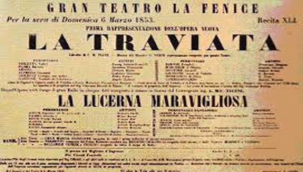 A Traviata ősbemutatójának plakátja