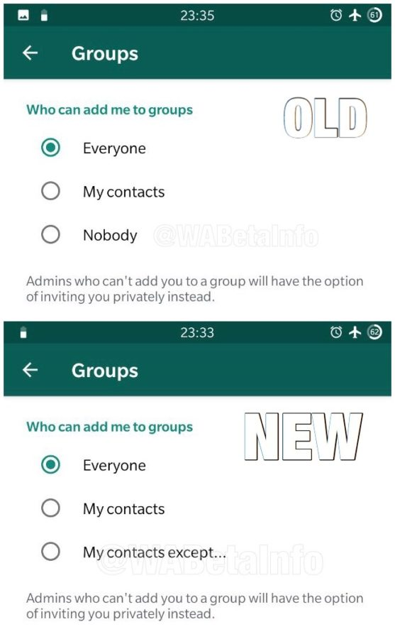 WhatsApp Blacklist feature on Android