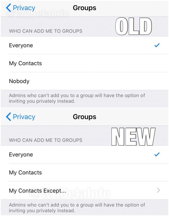 WhatsApp Blacklist feature on iOS