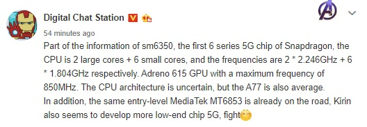 Features Of Next Snapdragon 6-series Chipset With 5G leak