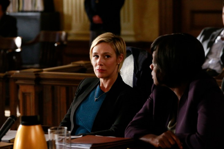 "HOW TO GET AWAY WITH MURDER - ""It's War"" - After being robbed of her power, Annalise makes it her mission to take down DA Denver and ADA Atwood. Meanwhile, Asher, Connor, Michaela, Laurel and Oliver continue to wrestle with the weight of Wes' unsolved murder, and Nate makes a shocking discovery on, ""How to Get Away with Murder,"" THURSDAY, FEBRUARY 16 (10:00-11:00 p.m. EST), on the ABC Television Network. (ABC/Mitch Haaseth)"