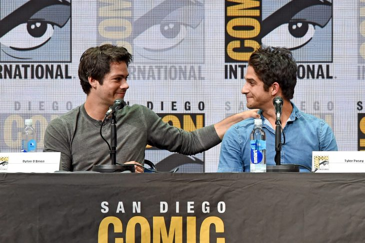 "SAN DIEGO, CA - JULY 20: Actors Dylan O'Brien (L) and Tyler Posey speak onstage at the ""Teen Wolf"" panel during Comic-Con International 2017 at San Diego Convention Center on July 20, 2017 in San Diego, California. (Photo by Kevin Winter/Getty Images)"