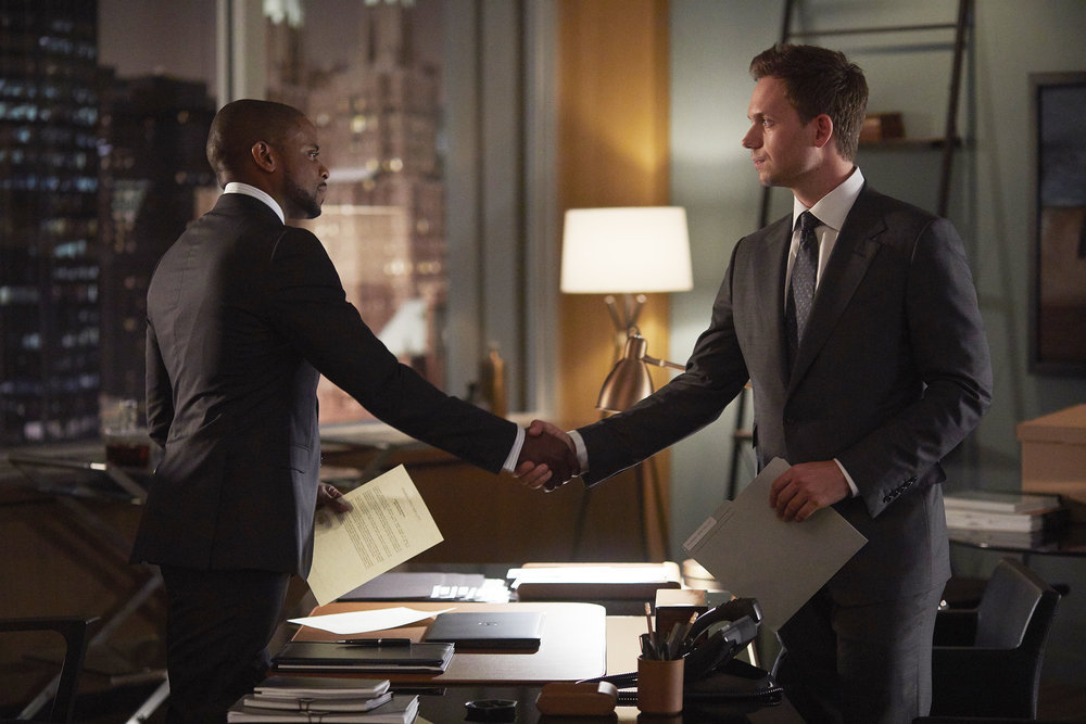 "SUITS -- ""Mudmare"" Episode 703 -- Pictured: (l-r) Dulé Hill as Alex Williams, Patrick J. Adams as Michael Ross -- (Photo by: Shane Mahood/USA Network)"