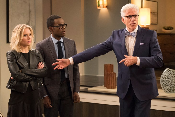 "THE GOOD PLACE -- ""Everything is Great!"" Episode 201 -- Pictured: (l-r) Kristen Bell as Eleanor, William Jackson Harper as Chidi, Ted Danson as Michael -- (Photo by: Colleen Hayes/NBC)"