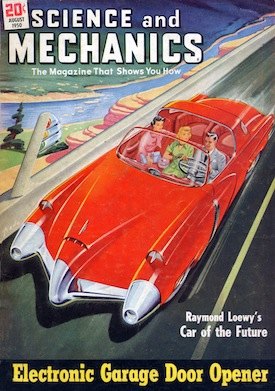 Car of the Future as conceived by Studebaker's Director of Styling, Raymond Loewy, in the August 1950 issue of Science and Mechanics. Loewy wrote about the new styling for tomorrow's rocket age population. Via Wikimedia Commons.