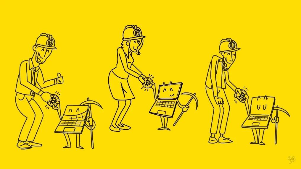 miners felici ricevono bitcoin dai computer con cui hanno lavorato per blockchain