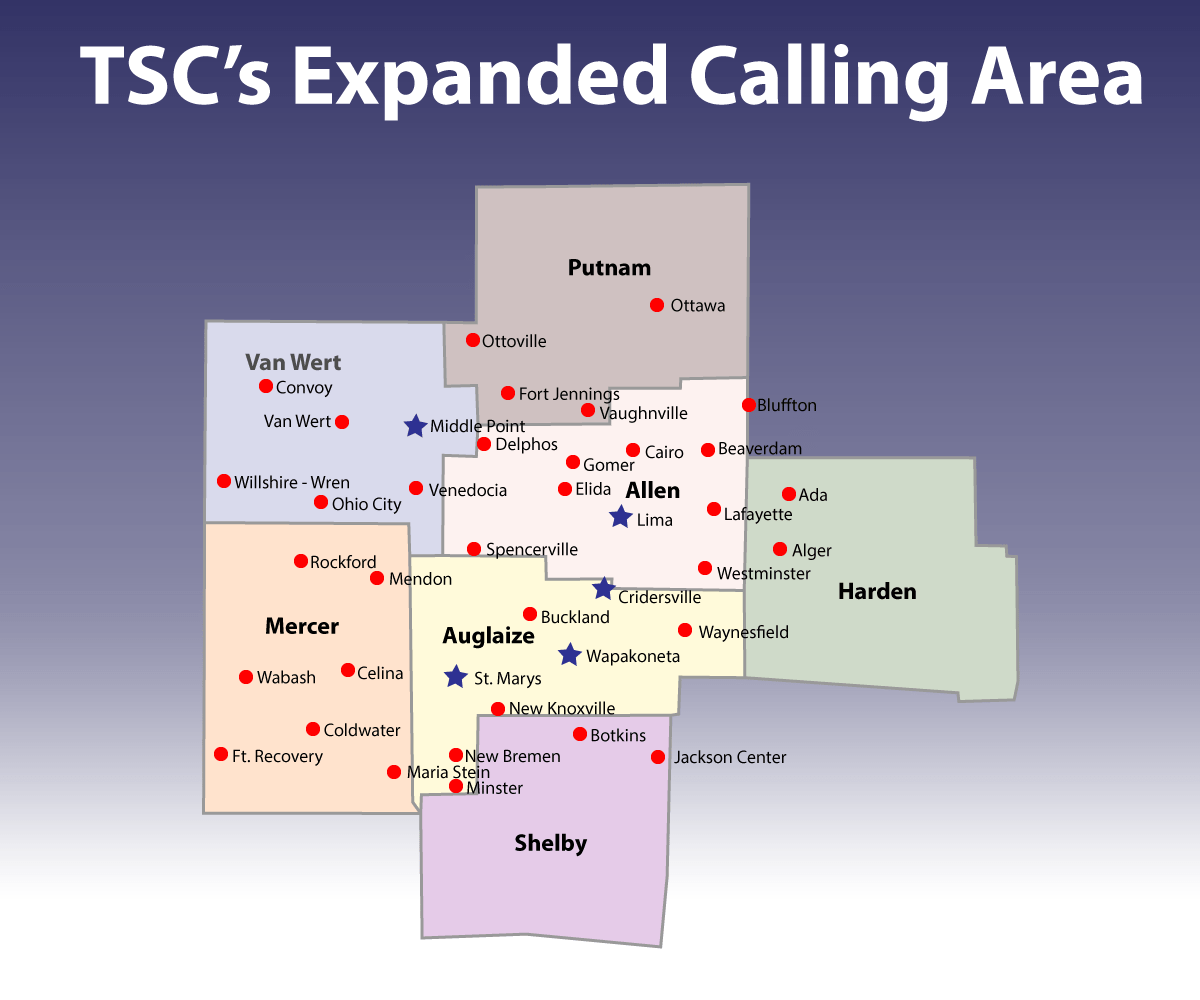 hight resolution of  customers with tsc s telephone service who reside in wapakoneta cridersville lima and st marys enjoy free local calling to all areas denoted with red