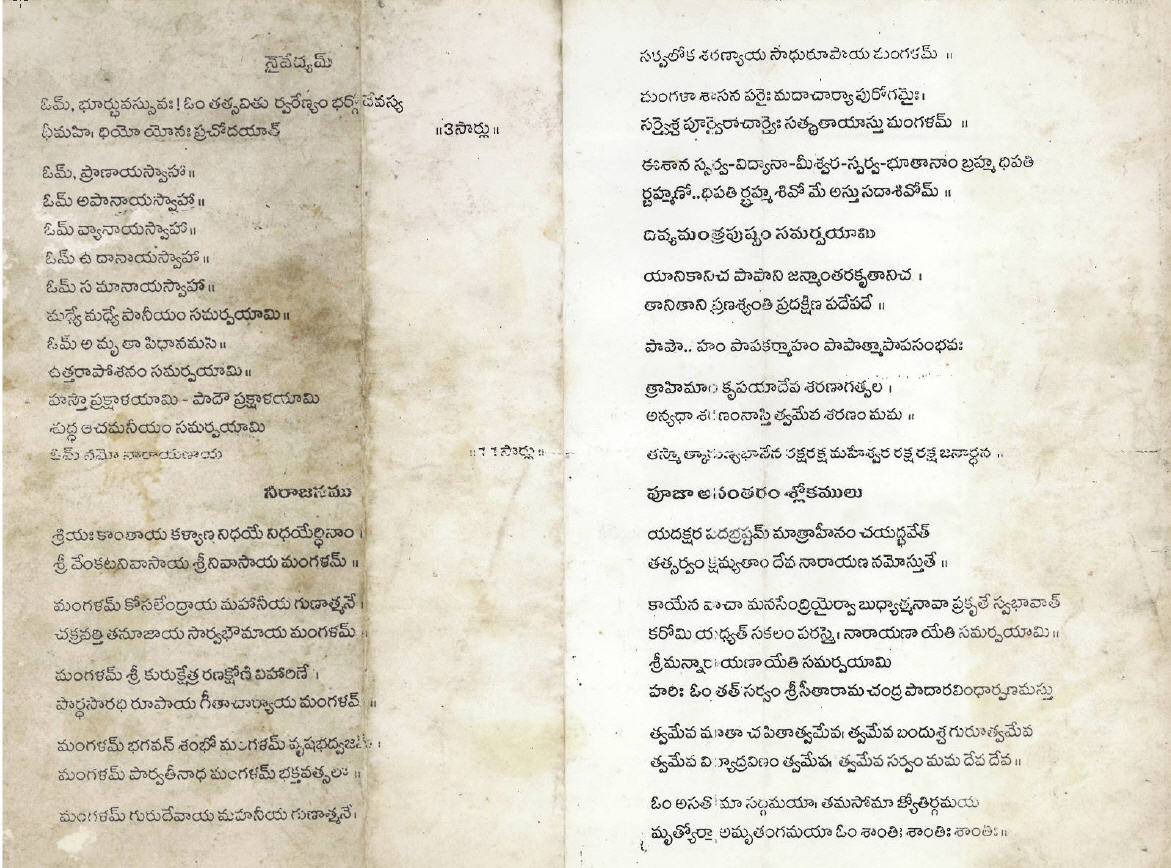Naivedyam and Neerajanam Vidhanam | TeluGlobe