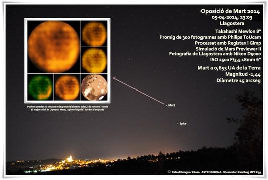 Mart sobre Llagostera, el dia 4 d'abril de 2014. Fotografia de Mart a partir de 300 fotogrames d'una captura de vídeo de 19 segons