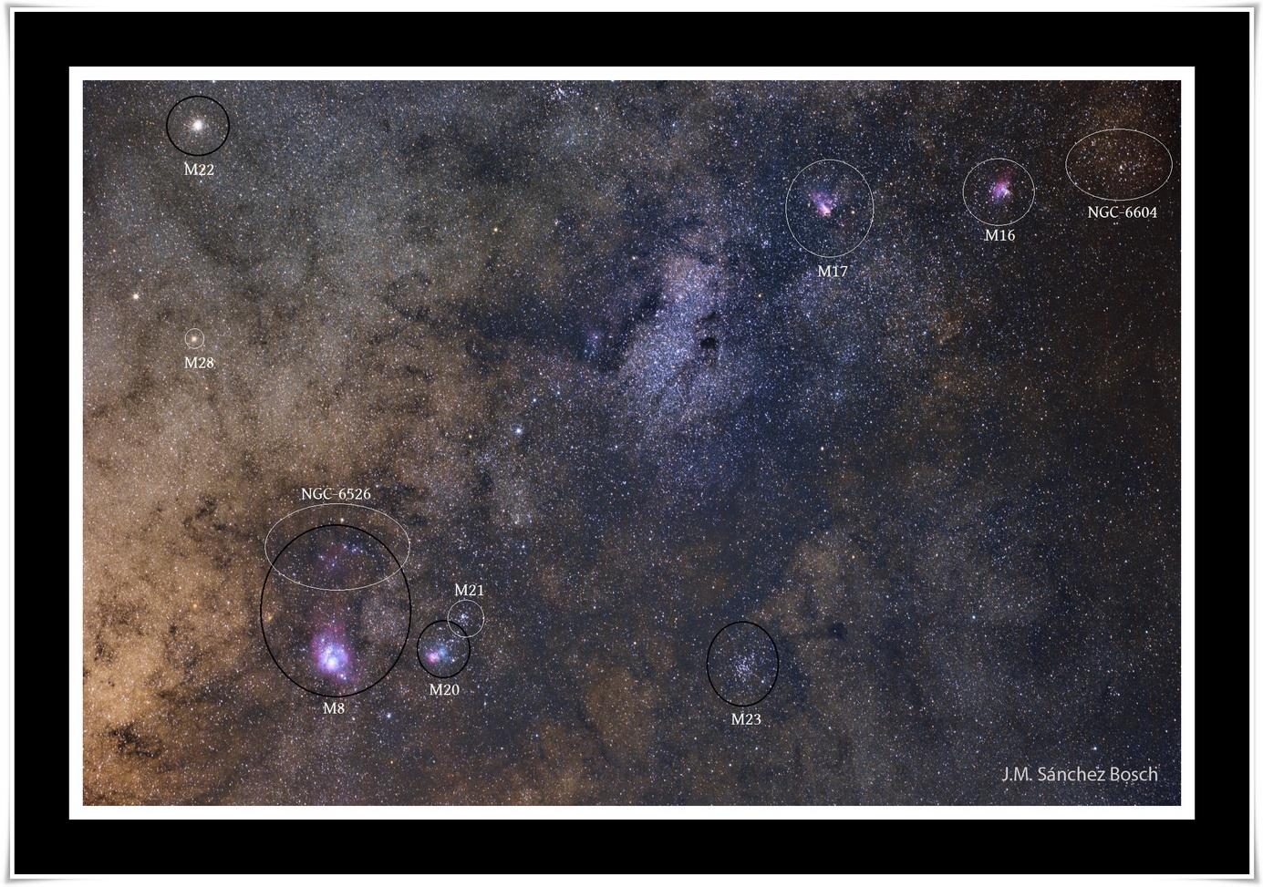Objectes Messier a la Via Làctia. Fotografia de José Manuel Sánchez Bosch
