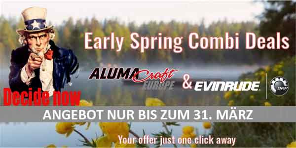 Sonderaktion Alumacraft Boote + Evinrude E-Tec Motoren