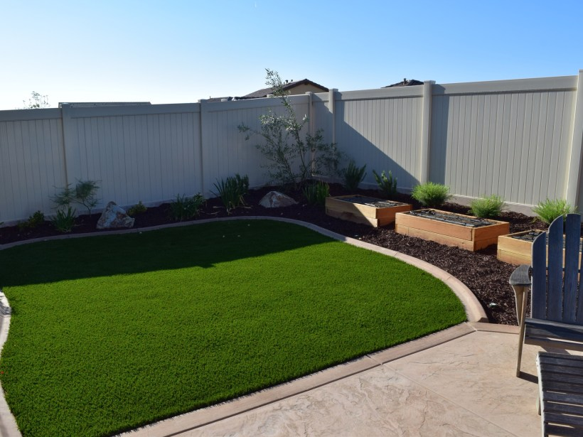 Artificial turf and garden boxes in Temecula McCabe's Landscape Construction