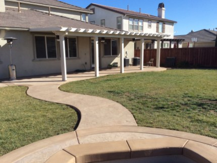 Alumawood patio cover and colored concrete in Menifee McCabe's Landscape Construction