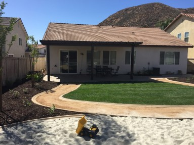 Playground sand DG pathways, grass and patio cover in Lake Elsinore McCabe's Landscape Construction