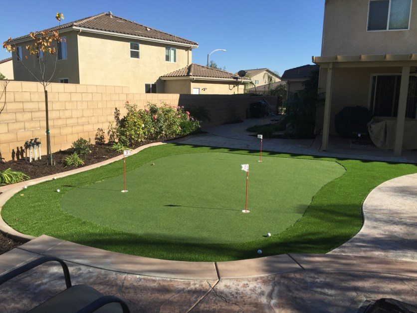 Putting green and artificial turf in Corona McCabe's Landscape Construction