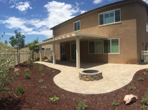Paver patio with fire pit in Winchester McCabe's Landscape Construction