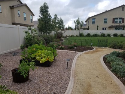 Grass, pathways and planter boxes