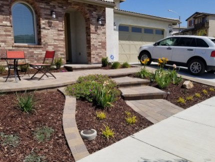 Front landscape with paver patio and pathways
