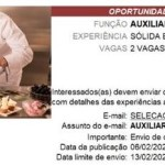 AUXILIAR DE CONFEITARIA (ATE 13/02/2020) (2 VAGAS) – RECIFE/PE