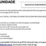 ANALISTA DEPARTAMENTO PESSOAL – FORTALEZA/CE
