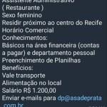 ASSISTENTE ADMINISTRATIVO – RECIFE/PE